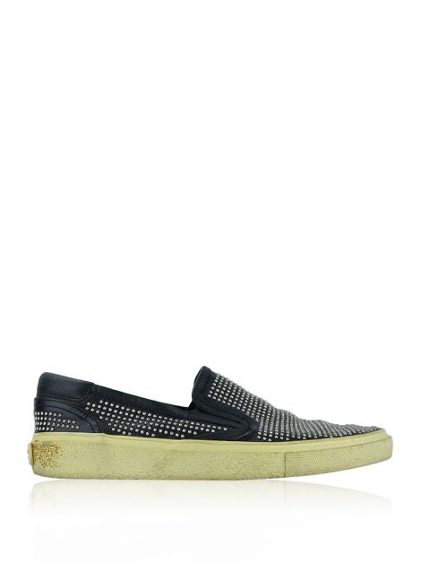 Slipper Saint Laurent Couro Preto