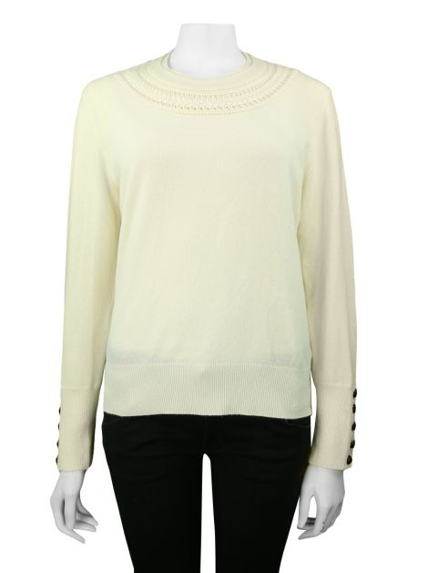 Suéter Burberry Cable Knit Yoke Cachemir Creme
