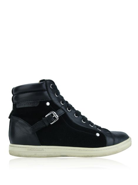 Tênis Longchamp Balzane Roots High-Top Couro Preto