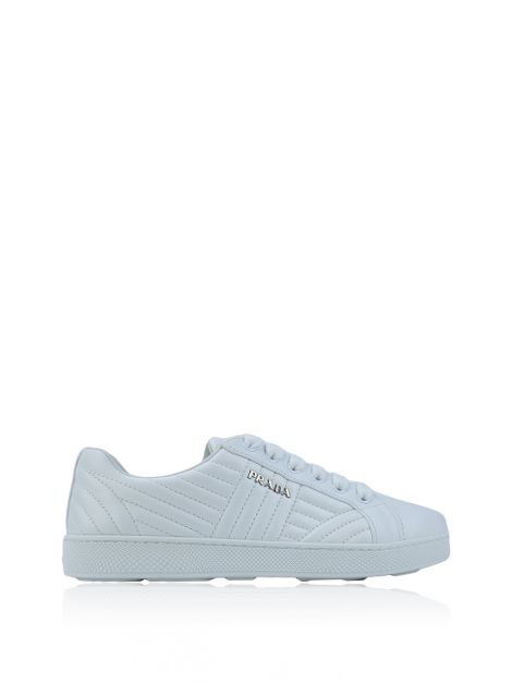 Tenis Prada Stitched Leather Low-Top Branco