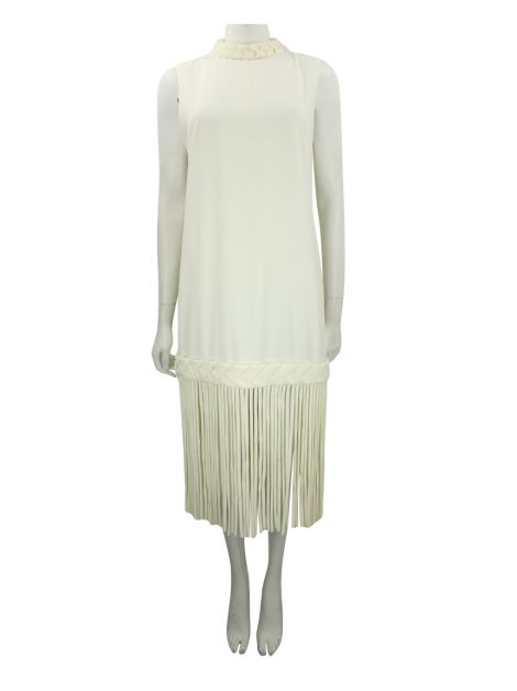Vestido Mixed Franjas Off White