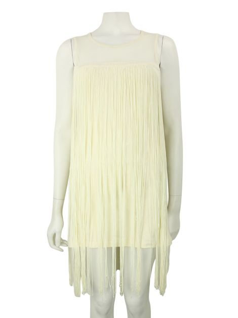 Vestido Mixed Franjas Off-White