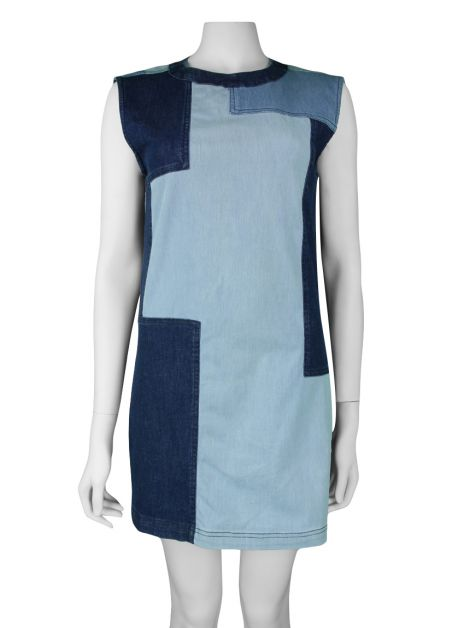 Vestido Mixed Jeans Geometric