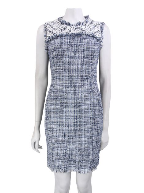 Vestido Mixed Tweed Azul