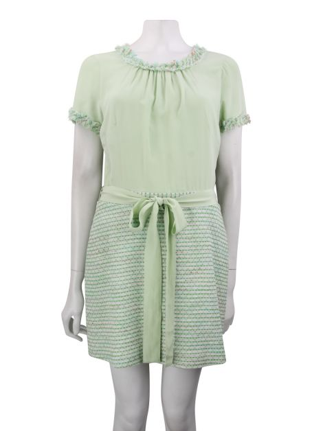 Vestido Mixed Tweed Verde