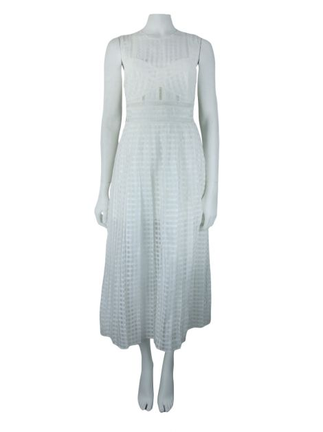 Vestido Self-Portrait Pleated Check Branco