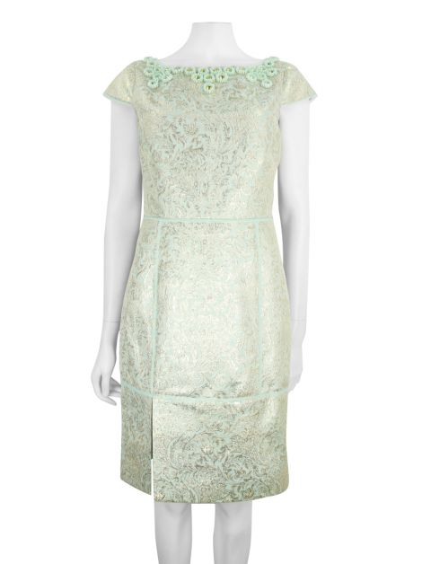 Vestido Tory Burch Brocado Verde