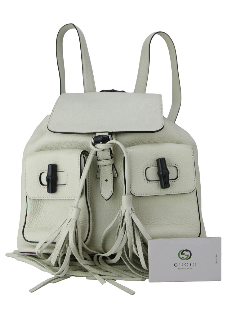 Mochila Gucci Bamboo Sac Leather Backpack Off-White Original - CUE5 ... 5bee395e00b