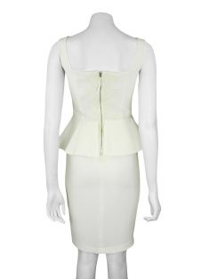 Vestido Mixed Peplum Off White