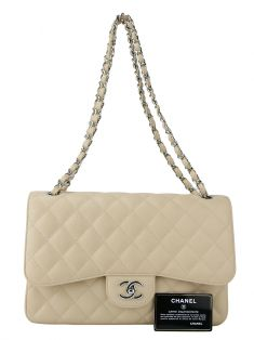 Bolsa Chanel Double Flap Couro Nude