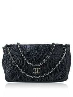 Bolsa Chanel Vinyl Graphic Edge Accordion Preta