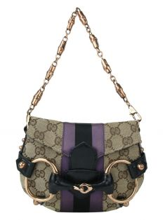 Bolsa Gucci GG Satin Web Rose Gold Hardware Horsebit 129498 Jacquard