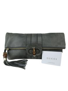 Clutch Gucci Lucy Couro Cinza
