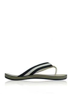 Flat Chanel Listrado Off-White e Preto