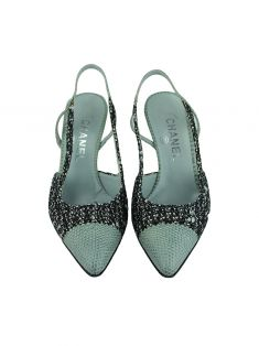 Sapato Chanel Tweed Verde