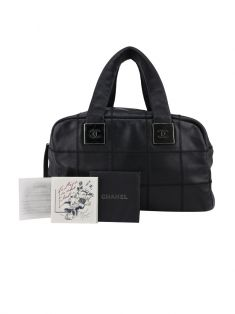 Bolsa Chanel Black Square Stitched Caviar