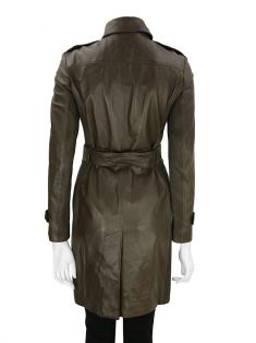 Trench Coat Burberry Couro Marrom
